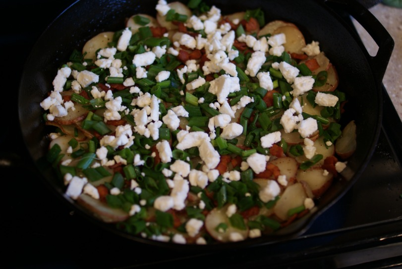 Assembled Ingredients - Potato Frittata with Feta and Scallions